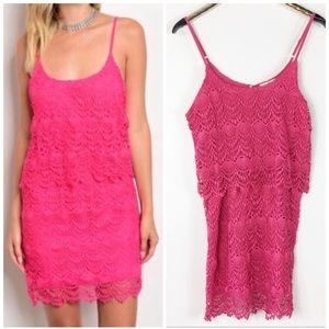 Swanky Coconut Hot Pink Lace Crochet Mini Sundress